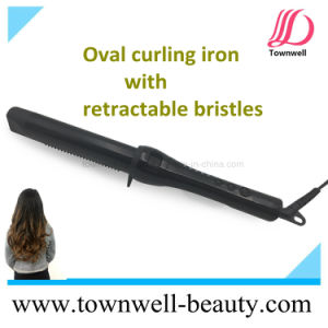 New Creative Mch 2 in 1 Oval Curling Iron with Retractable Bristles pictures & photos