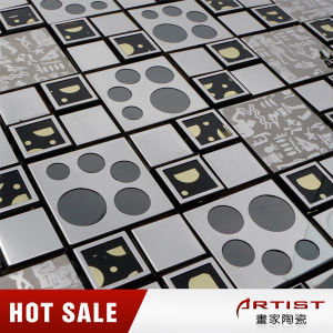 High Quality Crystal Glass Mosaic with Stainless Steel Pattern pictures & photos