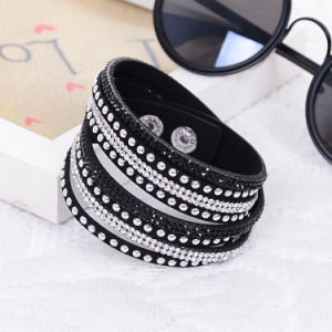 Fashion Rhinestones Crystal Multi Layer Leather Bracelet Jewelry pictures & photos