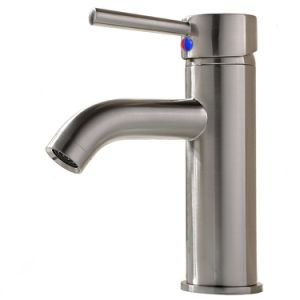 "Modern Commercial Stainless Steel Brushed Nickel Single Handle Vanity Vessel Sink Bathroom Faucet, Sink Mixer Faucet with Two 3/8"" Hoses"