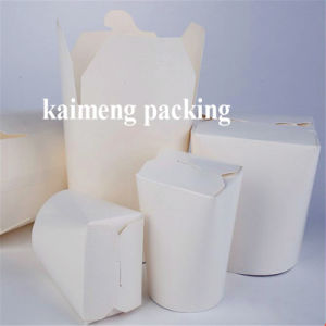 Food Grade White Card Plain Paper Folding Box with Handle Package pictures & photos