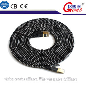 Gemt Cable Manufacture Cat7 Gold Plated Nylon Braiding pictures & photos