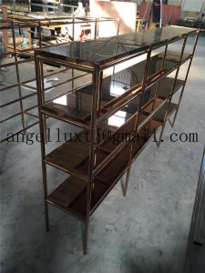 Four Layer Rose Gold Color Stainless Steel Shelves Mirror Finish Store Display Rack OEM Stainless Steel Furniture pictures & photos