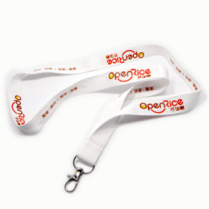 Customzied Logo White Polyester Lanyards for Show pictures & photos
