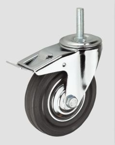 Black Rubber Thread Industrial Caster with Whole Brake