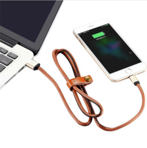 Leather Covered Data Charger USB Cable for Mobile Phone pictures & photos