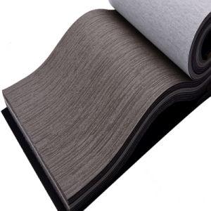Wood-Grain PU Leather for Decortation (HS-M380) pictures & photos