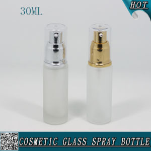 30ml Cosmetic Frosted Glass Lotion Foundation Bottle with Pump Sprayer pictures & photos