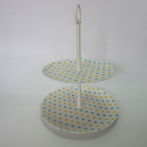 Bamboo Fiber 2 Tier Round Cake Rack Cake Display Stand Paisley Design Tableware pictures & photos