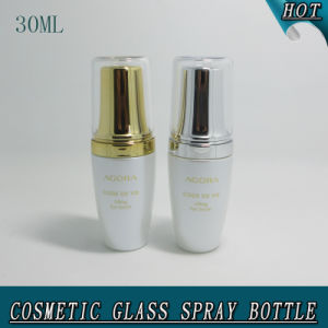 30 Ml High-End Acrylic Cover Pearl White Cosmetic Glass Bottle pictures & photos