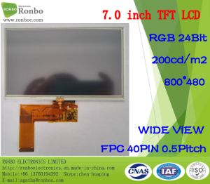 "7.0"" 800X480 RGB 40pin 200CD/M2 TFT LCD Panel Option Touch Screen pictures & photos"