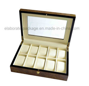 Personalized Brand Large Glass Top Display Wooden Watch Box pictures & photos