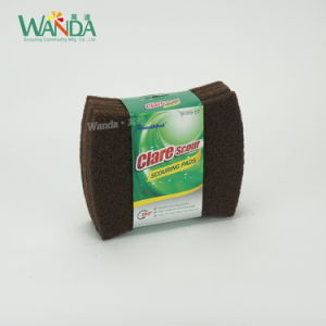Dish Washing Scourer Bow-Tie Shape Abrasive Brown Scrub Pad pictures & photos