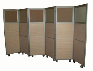 Aluminum Hospital Hotel Wheels Mobile Folding Partition (HX-8106) pictures & photos