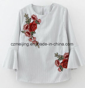 Stripe Women`S Embrodiered Flower Shirt pictures & photos