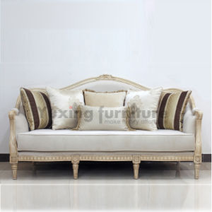 Living Room Sofa with Fabric and Wood Frame American Classical Couch for Home pictures & photos