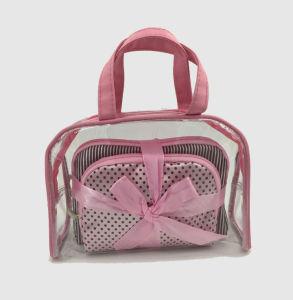 PVC & Satin Sets Cosmetic Handbag for Women pictures & photos