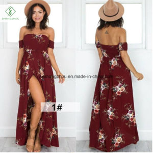 2017 Fashion Women off Shoulder Beach Maxi Chiffon Dress with Floral Print pictures & photos