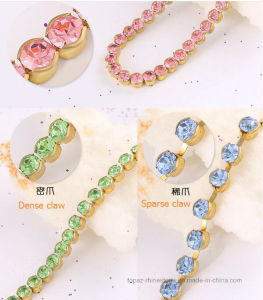 2017 New Brass Claw Chain Round Edge Rhinestone Trimming Rhinestone Cup Chain pictures & photos