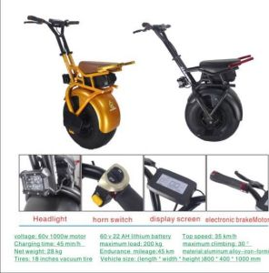 18 Inch Self Balance Unicycle Electric Scooter 60V, 22A pictures & photos