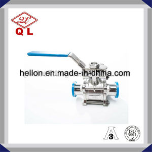 Sanitary Stainless Steel 3 Pieces Clamped Ball Valve pictures & photos