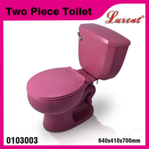 Ceramic Side Handle Gravity Flushing Elongate Pink Color 2PC Water Closet