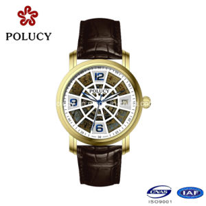 Made in China Men Watch Hollow Dial Leather Band Mechanical Wrist Watches pictures & photos