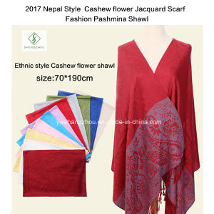 2017 Nepal Style Cashew Flower Jacquard Scarf Fashion Pashmina Shawl pictures & photos