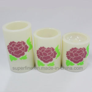 Wholesale Romantic Peony Flower Printed Battery Operated Flameless Wedding Ornamental LED Candles pictures & photos
