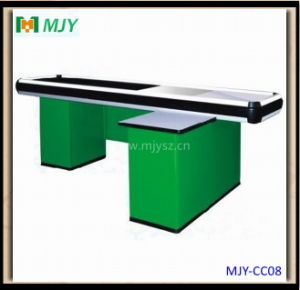 Supermarket Checkout Counter with Conveyor Belt Mjy-Cc08 pictures & photos