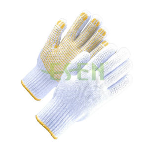 White Knitted PVC Dots Industrial Safety Work Cotton Gloves (D16-H2) pictures & photos