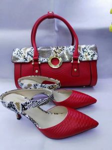 Ankle Strap High Heel Shoes with Matching Bags Red (G-27)