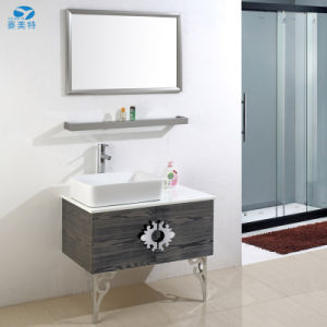 Antique Wooden Grain Stainless Steel Hotel Bathroom Cabinet Vanity pictures & photos