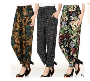 Wholesale Ice Silk Custom Printed Pants for Middle Aged Women pictures & photos
