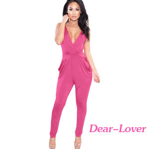 Pink Strappy Plunging V Neck Fitted Pant Jumpsuit pictures & photos