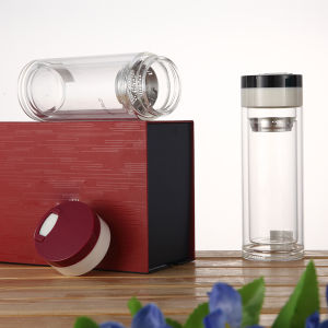 BPA Free Glass Water Botte with Lid Infuser pictures & photos