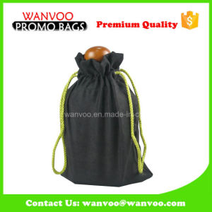 Eco Friendly Wine Bottle Velvet Drawstring Pouch for Packaging pictures & photos
