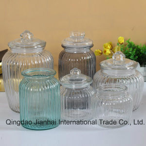 Stripes Big Size Glass Jar with Crystal Lids pictures & photos