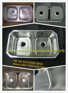Undermount Double Bowl 50/50 Stainless Steel Sink for Kitchen with Cupc Certificate (8247B) pictures & photos