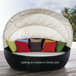 Patio Sunlounge with Canopy Rattan Outdoor Furniture Daybed with Canopy (YTF178) by Double pictures & photos
