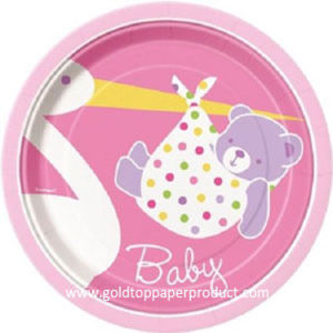 Disposable Paper Dinner Plates for Baby Shower pictures & photos