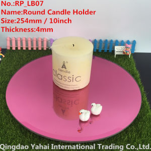 4mm Large Bevel Pink Glass Mirror Candle Holder pictures & photos