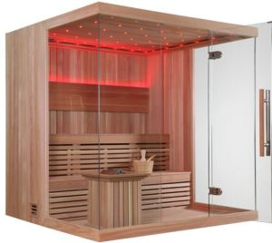 Monalisa 6 People Luxury Home Customized Cheap Dry Sauna with 8mm Folding Glass Door N Imported Wood for Sale pictures & photos