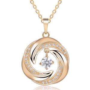 Wholesale Fashion Copper Metal Gold Zirconia Stone Necklace pictures & photos