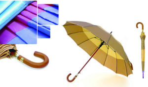 High Quality Strip Border Wooden Shaft Pearl Umbrella (YS-SM26163554R)