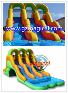 Three Lanes Slide/ Inflatable Water Slide with Pool pictures & photos