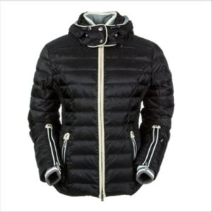 2015 Ladies Shiny Black Italy Polyester Outdoor Winter Down Jacket pictures & photos