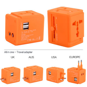 Newest Au/Us/UK/South Africa Plug Travel Universal Adapter with 2 USB Output 2400 Ma