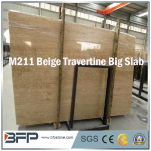 Natural Sotne Polished Beige Travertine Marble Slabs Tiles pictures & photos