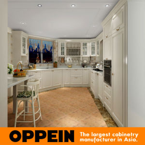 Oppein White Curved Layout Kitchen Cabinet with Lacquer Finish (OP15-L36) pictures & photos